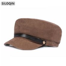 SILOQIN Retro Fashion Army Military Hats For Men And Women Winter Thick Warm Flat Cap Elegant College Style Literary Youth Hat