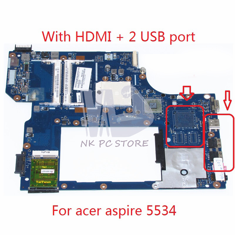 MBNAL00001 MB.NAL00.001 For Acer aspire 5534 5538 Laptop Motherboard NAL00 LA-5401P Socket s1 DDR2 with Free CPU nbmny11002 nb mny11 002 for acer aspire e5 511 laptop motherboard z5wal la b211p n2940 cpu ddr3l