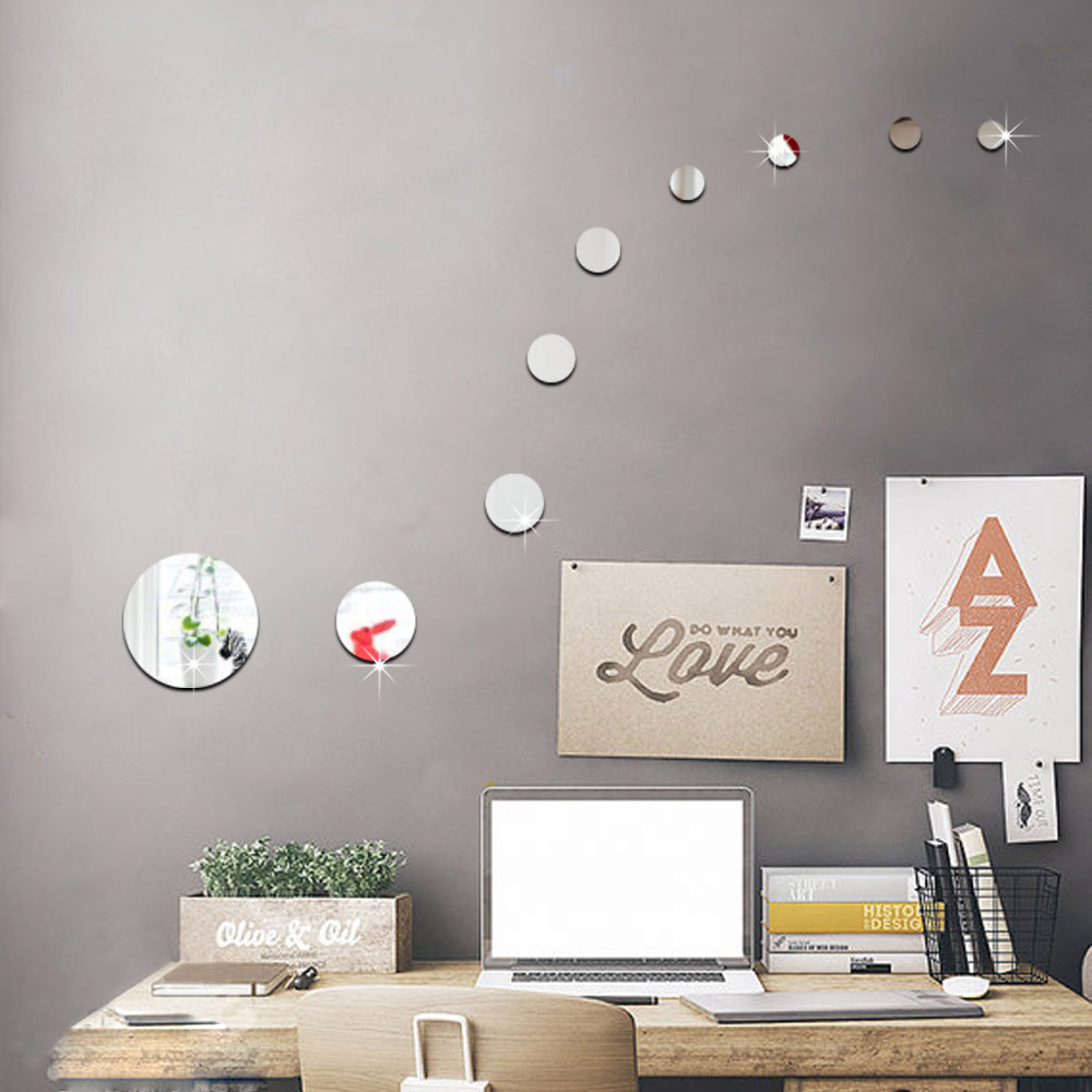 DIY Round Circles Wall Mirror Acrylic Mirrored Decorative Wall stickers 3d  Mural Home Decoration Wall Art