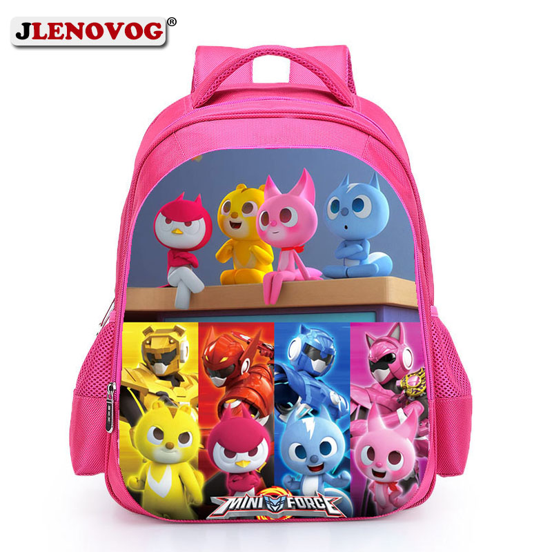 Miniforce Lucky Max School Bag Kids Carton Hero SchoolBag 16 inch Book Bags Pupil Backpacks for Boys Girls Pink Black Mochila