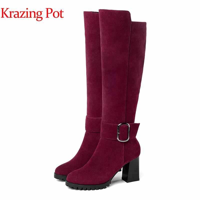 Krazing pot 2018 cow suede fashion boots style high heels round toe large size metal buckle