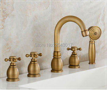 Wholesale and Retail Antique Brass Faucet Deck Mounted 5 Pcs Bathtub Sink Mixer with Hand Shower ZR888