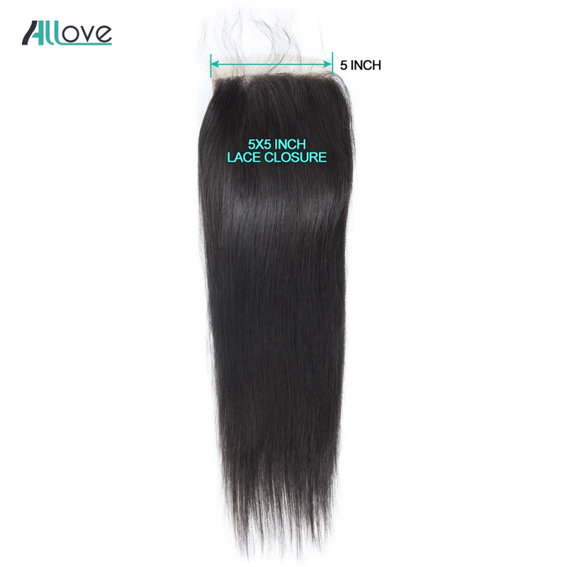 Image 5 - Allove Brazilian Straight Hair Lace Closure 8 20inch 5*5 Closure Free Middle Three Part Swiss Lace Closure Non Remy Human Hair-in Closures from Hair Extensions & Wigs