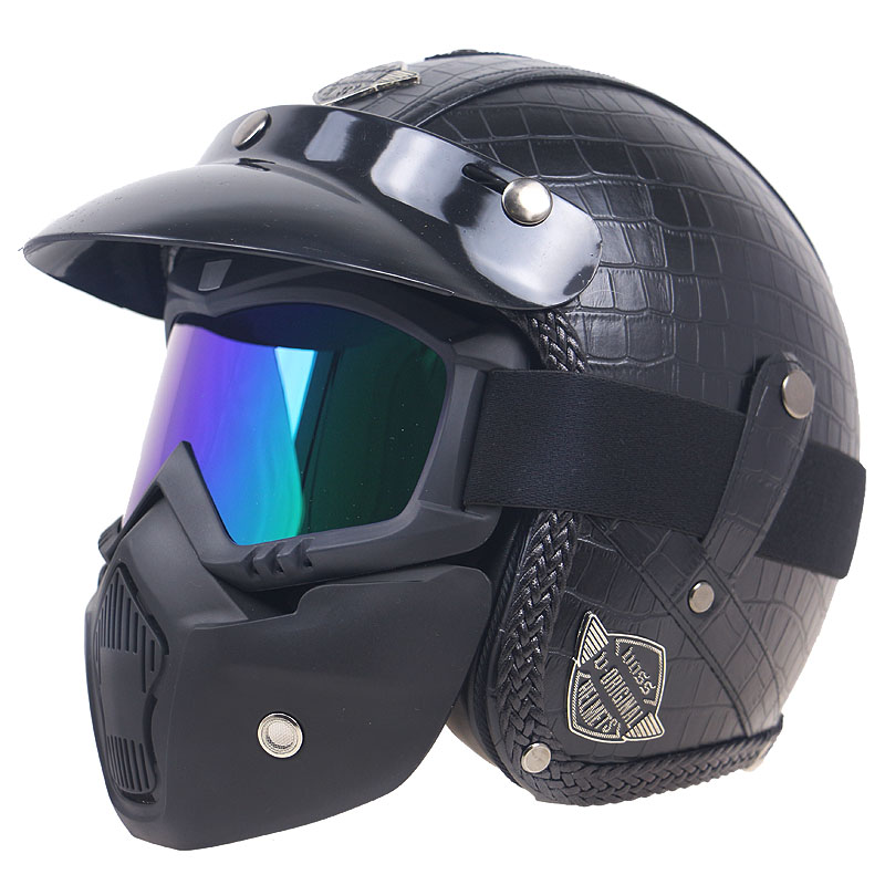 Fashion PU Cuoio Harley Caschi 3/4 Moto Chopper Bike casco viso aperto casco moto d'epoca con goggle mask