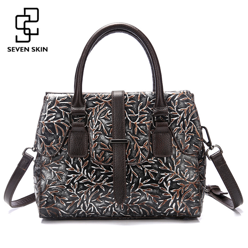 Women Genuine Leather Bags Famous Brand National Style Embossed Floral Handbag Female Small Clutch Tote Classical