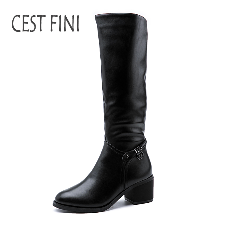 CESTFINI Knee High Women Boots Leather Boots Metal Shoes Woman Real Rabbit Hair Inside Warm Winter Boots Size 36-41#B014