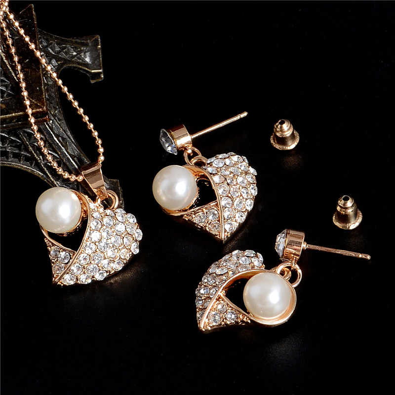 Hesiod Love Heart Pendant Necklace With Stud Earrings Gold Color Chain Simulated Pearl Crystal Jewelry Set For Wedding