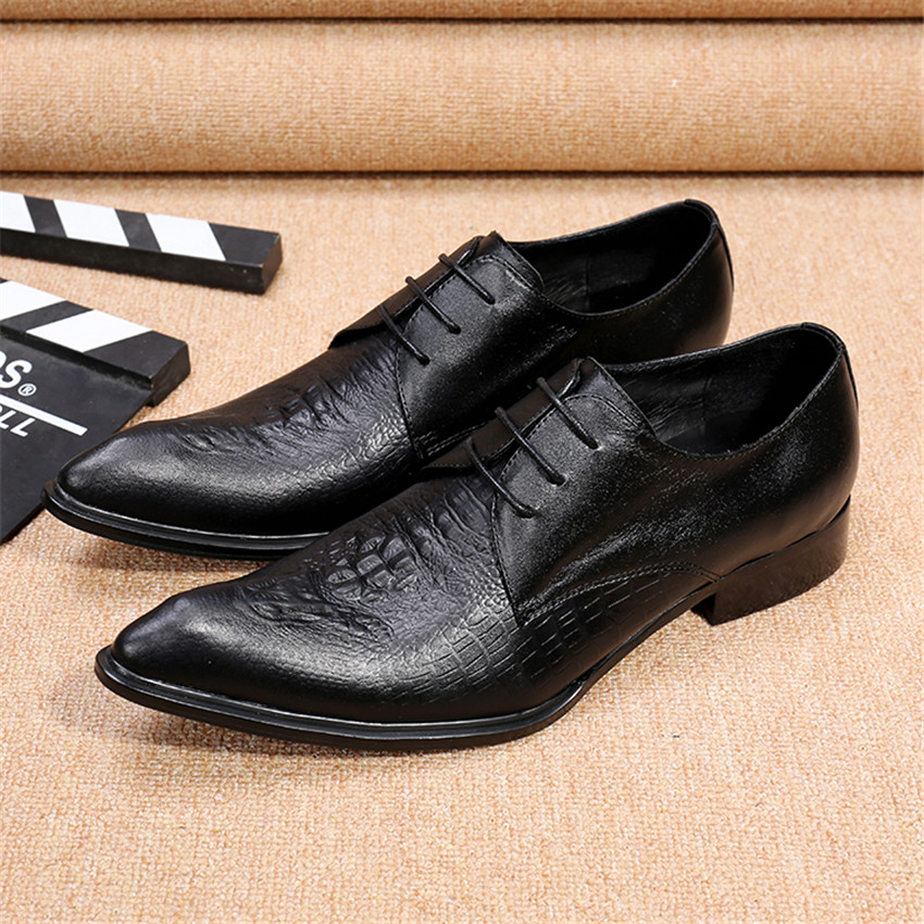 Black Empaistic Men Genuine Leather Dress Shoes Pointed Toe Wedding Shoes Lace Up Creepers Mens Flats Oxfords Chaussure Homme black fashion men metal pointed toe genuine leather oxfords mens wedding dress shoes lace up flat shoes chaussure homme creepers