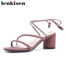 b694788cba20 Lenkisen vente chaude peep toe peu profonde cheville sangle chaussures de  causalité haute talons d été coréenne fille réunion pi.