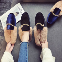 luxury shoes women designers fur slippers womens slides warm winter furry footwear outdoor autumnshoes woman luxury slippers