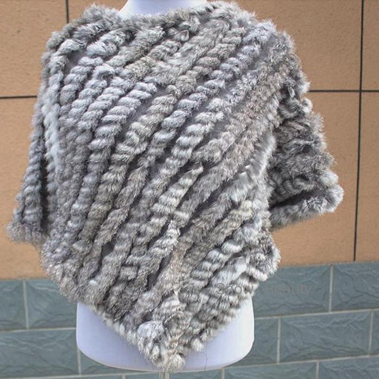 natural real knitted rabbit fur poncho shawl (14)