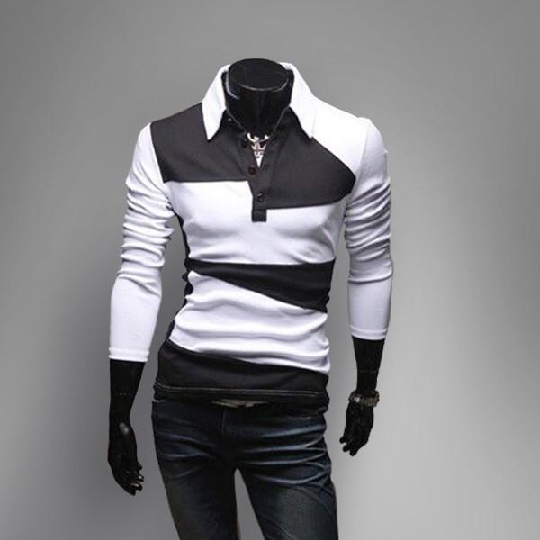 2016 Otoño marea del color del encanto de manga larga Delgada camisa de POLO Paul hechizo color de la camisa camisa de la manera negro y blanco