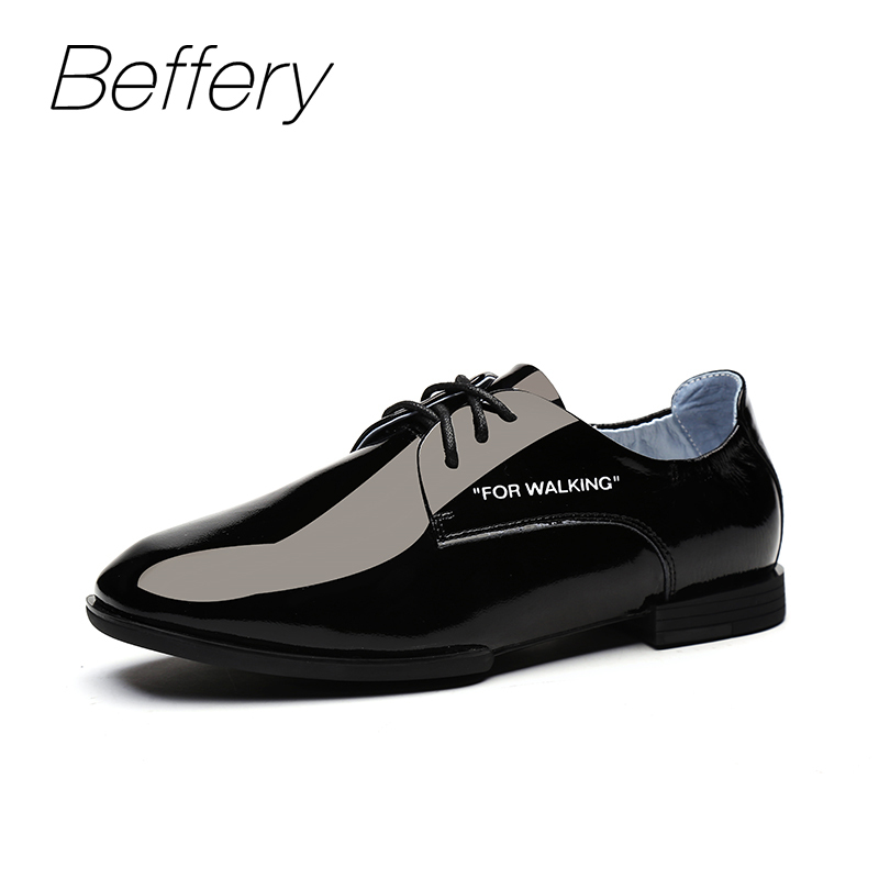 Beffery Spring Patent Leather Oxford Shoes Women Flats Pointed Toe Casual Shoes Lace-Up Soft Leather Womens Shoes Retro Brogues new 2017 spring summer women shoes pointed toe high quality brand fashion womens flats ladies plus size 41 sweet flock t179