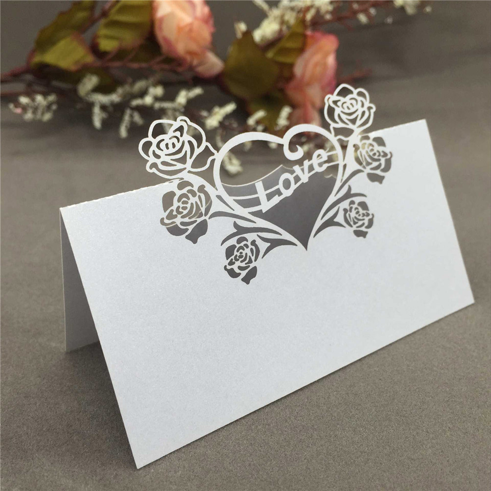 50PCS Romantic Wedding Name Card Laser Cut Heart Rose Love Pattern Place Card Wedding Seat Card Party Wedding Decorations Supply 1 design laser cut white elegant pattern west cowboy style vintage wedding invitations card kit blank paper printing invitation