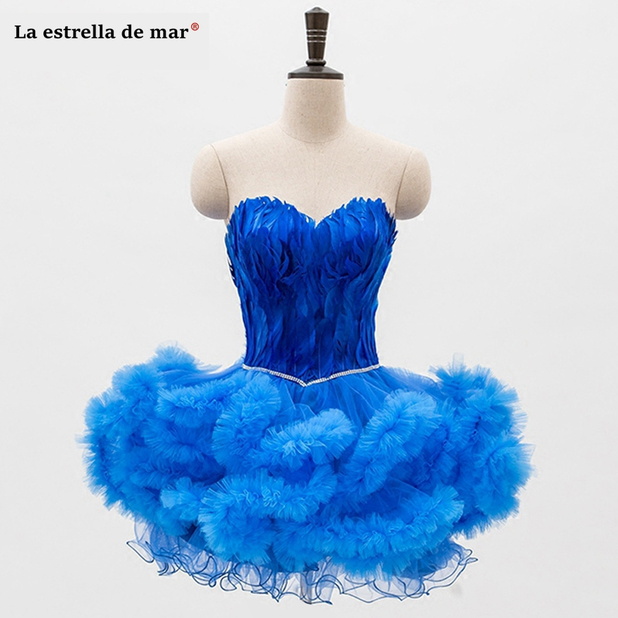 Vestido de festa curto 2019 new sexy sweetheart halter fluffy royal blue black white purple blush feather   cocktail     dress   plus