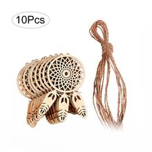 10pcs/lot Wooden Dream Catcher Feather Decoration Good Luck Mini Dreamcatcher Ornament Hanging Home