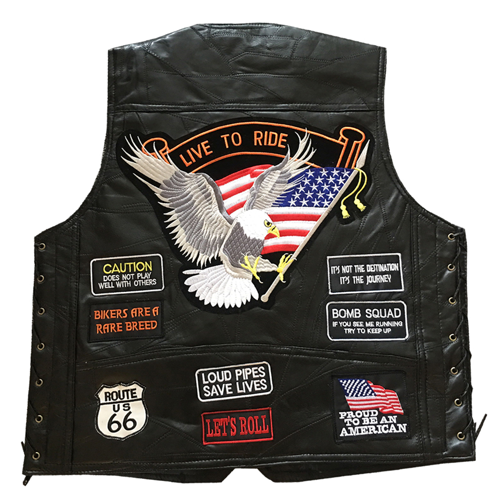 New Motorcycle Jacket Moto Mens Biker Sheepskin Leather Chaqueta Veste Retro Jaqueta Motoqueiro Vest