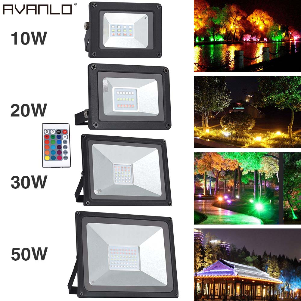 RGB 10W 20W 30W 50W LED Flood Light AC220V LED Outdoor Lighting Reflector Spot Floodlight With Remote Control