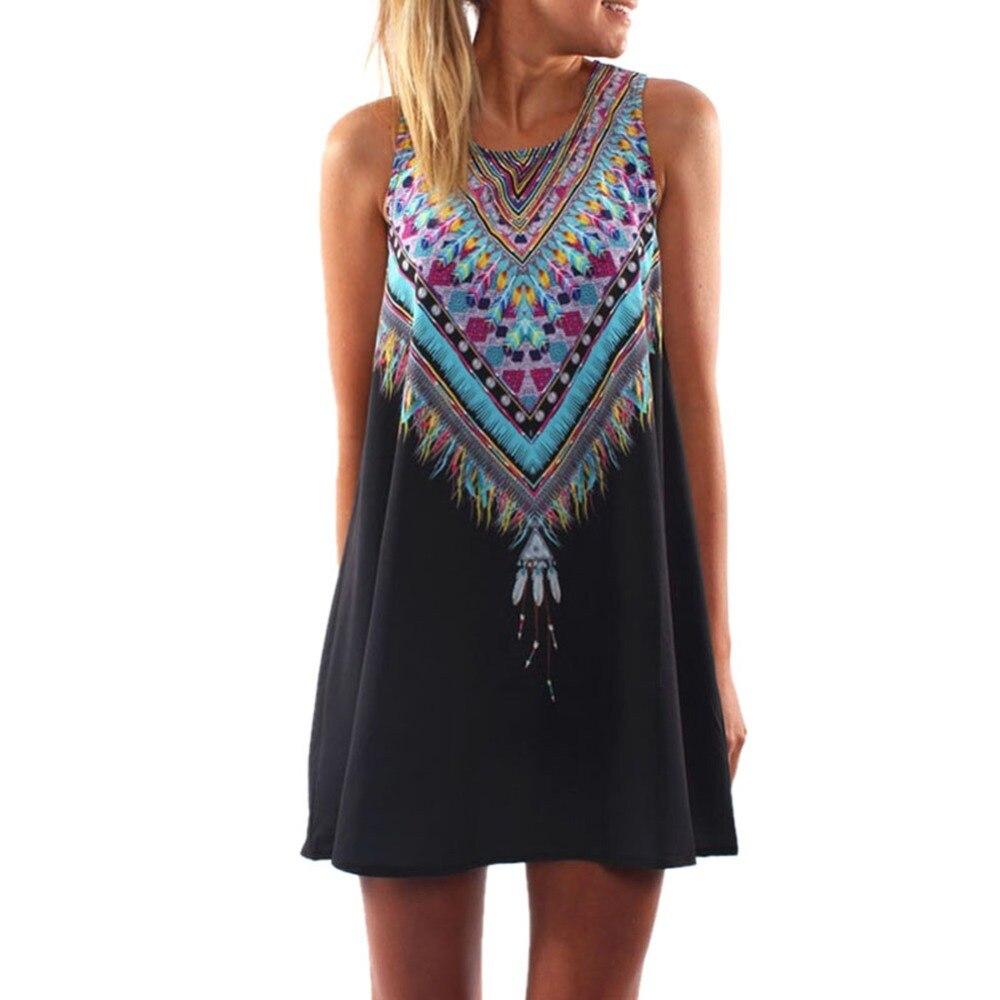 Estilo de verano de las mujeres vestidos de la nueva manera de mini impresión de