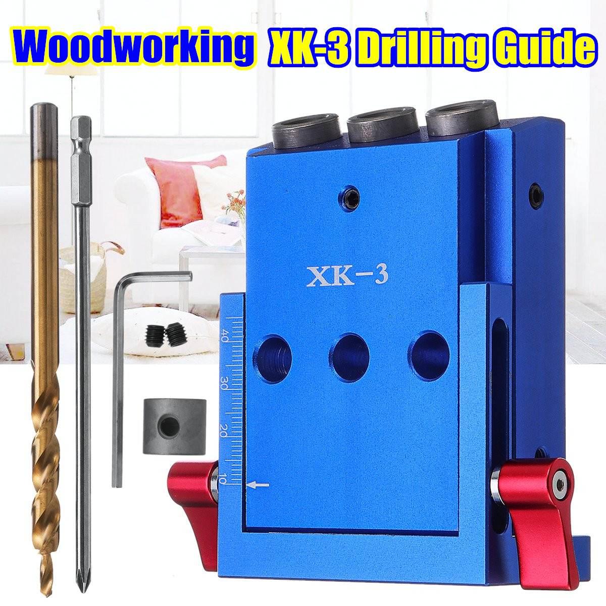 XK-3 poches trou gabarit menuiserie Guide réparation charpentier Kit système 9.5mm foret 3 trous menuiserie Oblique Guide de forage localisateur