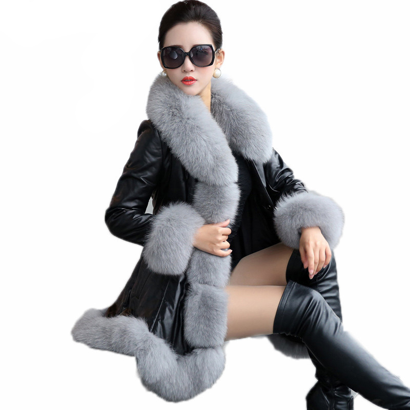 Thick Winter Coat Women Leather Jacket Female Jaqueta De Couro Feminina Faux Fox Fur Collar PU Leather Jacket Plus Size 6XL X51