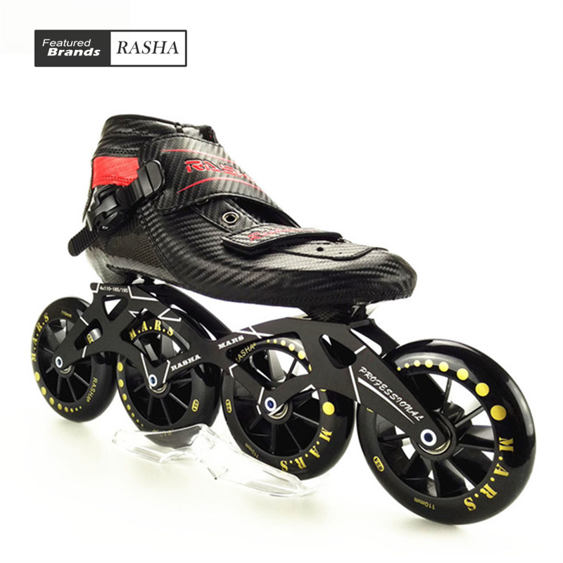RASHA SKATE inline speed skating shoes speed skates black carbon inline roller skates boot men/women patins inline inline duo 7квт киев