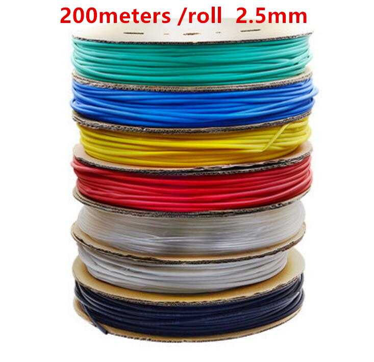 все цены на 200m/roll 2.5MM Heat shrinkable tube heat shrink tubing Insulation casing 200m a reel онлайн