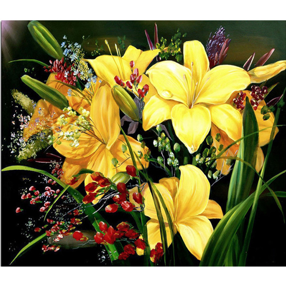 New 3D DIY Diamond Painting Yellow flowers full square drill Wedding decor Cross Stitch Mosaic Diamond Embroidery H1343