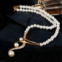 17KM New Style Luxury Bridal Jewelry Set Crystal Beads Necklace Simulated Pearl Earrings Female Wedding Jewelry For Woman