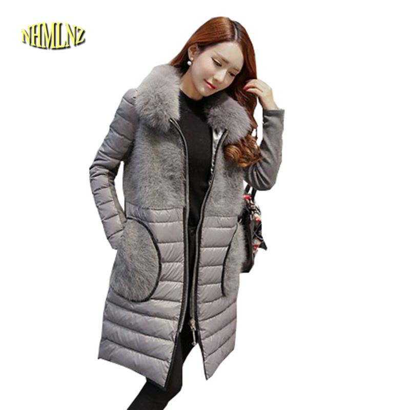 Winter Jacket New Warm Women Coat Thick Duck down Jacket Collars Splicing Printing Coat Large size Slim Casual Outerwear G2817 free shipping to women new winter down jacket large collars thickening ms cultivate one s morality