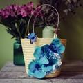 26*20 СМ Малый 2016 Новый Свежий Ротанга сумки Женщины Сумку Сумки Плетеные Цветы и бабочки Орхидеи A2570 ~ 2