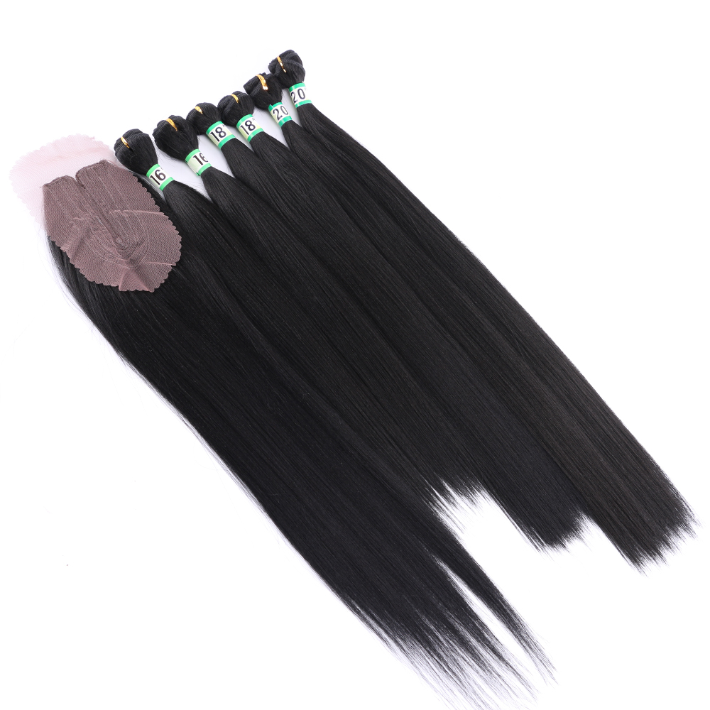 Natural black 6 pieces Yaki straight hair bundles with closure High temperature synthetic hair extension for women(China)