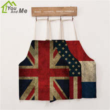 56x68cm Adult  Apron Sexy Linen National Flag Pattern Funny BBQ Party Apron Lovely Lady Kitchen Cooking Pinafore