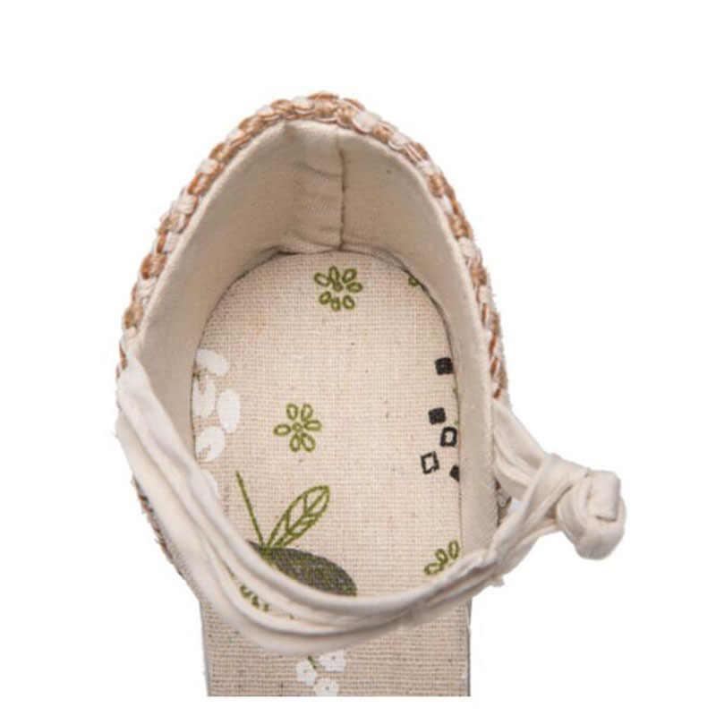 2019 Vintage Espadrilles kadın sandalet rahat keten tuval kama sandalet yaz ayak bileği kayışı Med topuk platformu pompa ayakkabı