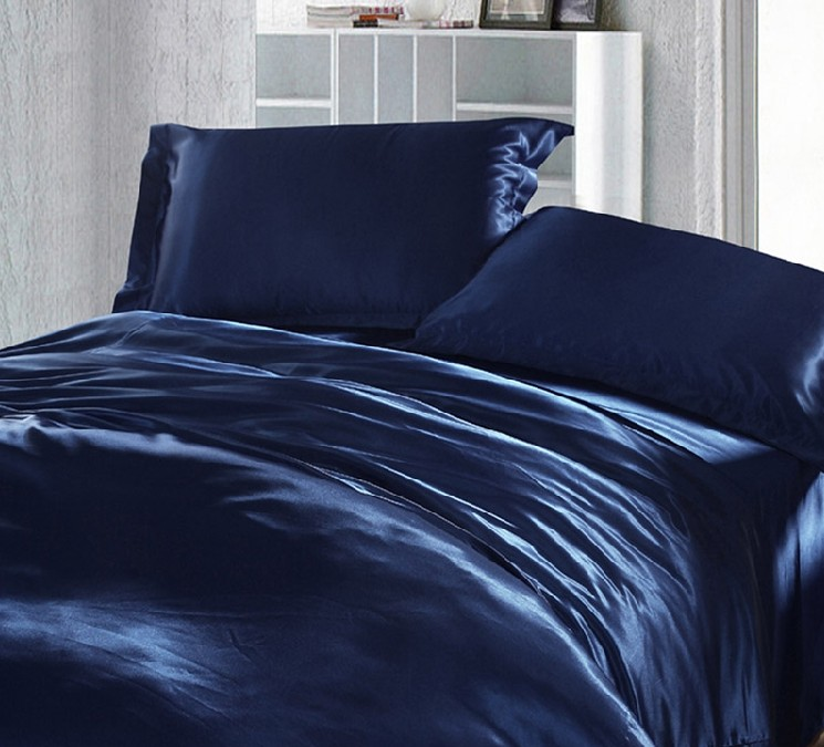 Dark Blue Bedding Set Silk Satin California King Size Queen Fitted Bed  Sheets Quilt Duvet Cover Double Bedspread Doona 4pcs 6pcs In Bedding Sets  From Home ...