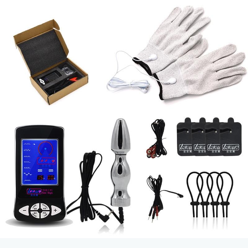 Haute qualité matériaux choc électrique Masturbation mâle pénis Plug Anal anneau de pénis gants choc électrique Masturbation orgasme jouet