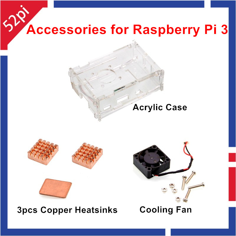 Acrylic Case + Copper Heat Sinks + Cooling Fan Kit for Raspberry Pi 2/3/Model B+ 12pcs aluminum heat sinks 2pcs pure copper heat sinks for raspberry pi 512m model b computer free shipping