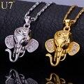 U7 indio elefante animal encantador collar colgante chapado en oro de circonio cúbico de moda mujeres/hombres joyería p471