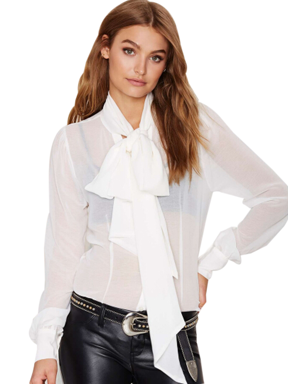 Popular Sheer Bow Tie Blouse-Buy Cheap Sheer Bow Tie Blouse lots ...