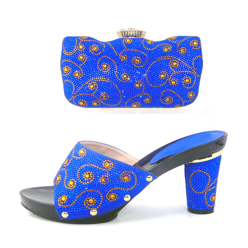 New Arrival Italian Shoes With Matching Bags African Women Shoes And Bags Set For Wedding Blue