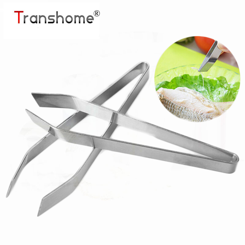 Transhome 1Pcs Stainless Steel Fish Bone Remover Pincer Clip Puller Tweezer Tongs Fish Bone Plucking Clamp Kitchen Gadgets