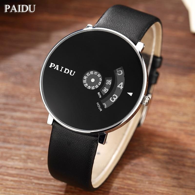Paidu Black Genuine Leather Strap WristWatch Women Dress Watches Unique Turntable Number Dial Mens Fashion Unisex Quartz Watches