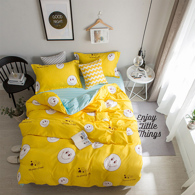 Lovely Cartoon Style Yellow+Smiley Face Pattern 4Pcs King Size Bedding Sets  Luxury Include Duvet
