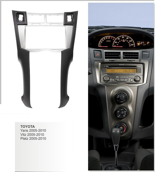 Двойной Дин Радио фасции для Toyota Yaris Vitz Platz 2005-2010 Dash комплект установка переходная Стерео DVD панель Лицевая панель накладка рамка