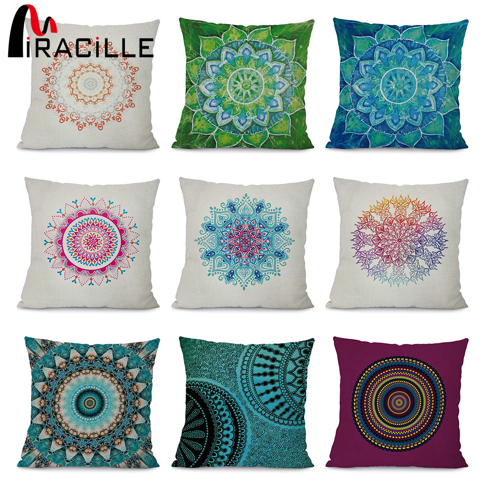 Miracille Colorful Mandala Pattern Home Decorative Sofa Throw Cushion Cover Cotton Linen Square Car Seat Back Waist Pillowcase