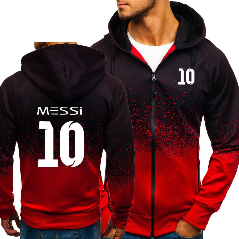 Messi 10 Print Sweatshirt Gradient Hoodies Men Spring Autumn Fleece Zipper Jacket Mens Streetwear Hip Hop Harajuku Male Clothing