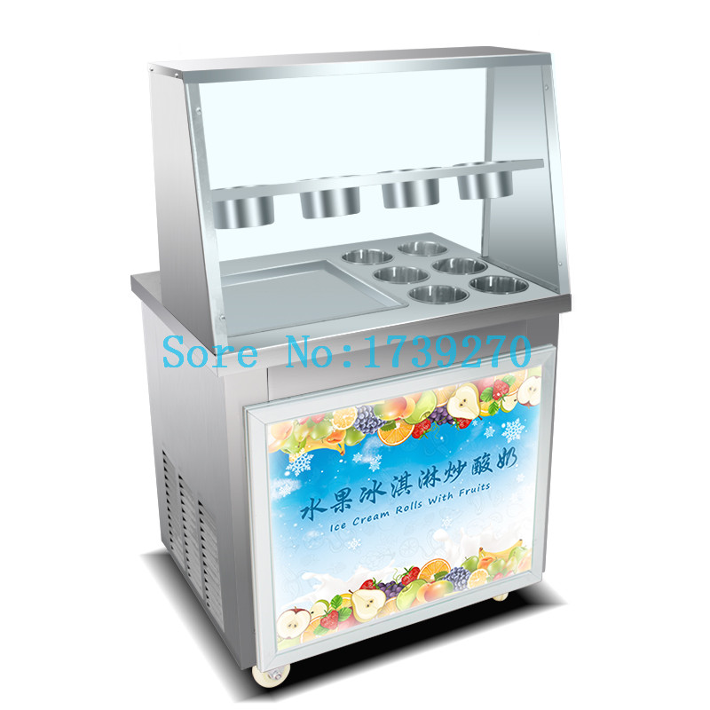 220V/110V Pan fried ice cream roll machine double square pans,Thai fry ice cream roll machine ship to your home