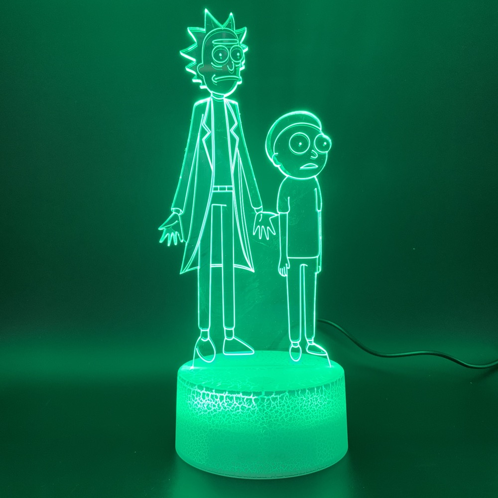 Novelty Lights Rick And Morty Home Decoration Bright Base Birthday Gift For Child Bedroom Decor Kids 3d Led Night Light Lamp