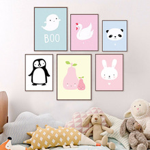 Nordic Style Cartoon Penguin Panda Animal Poster And Print WallArt Canvas Painting Wall Picture For Kids Room Nursery Home Decor