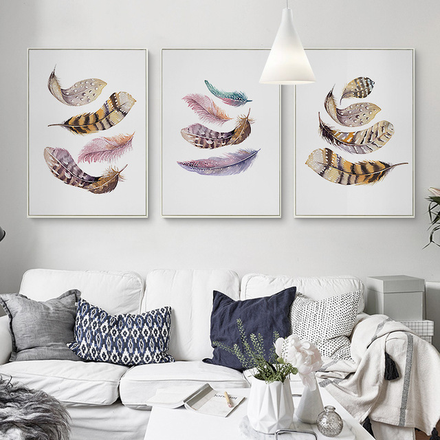 gorgeous feathers mural nordic style white based wall art drawing